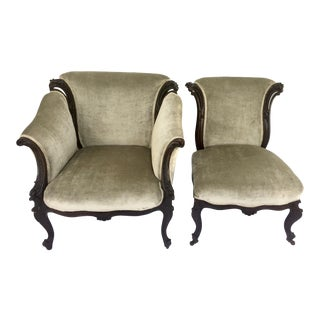Elegant Late 19th Century Antique His & Hers Victorian Parlor Chairs For Sale