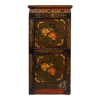 20th Century Tibetan Painted Night Stand/End Table For Sale