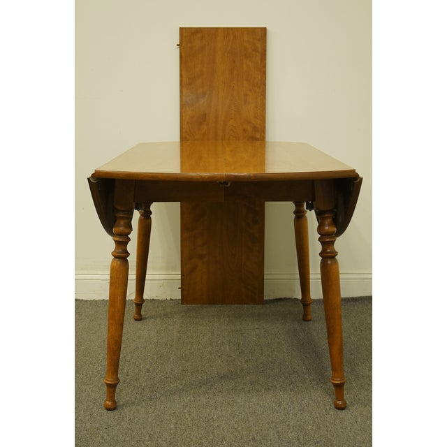 "American Vintage Ethan Allen Heirloom Nutmeg Maple 29"" Round Drop Leaf Dining Table For Sale - Image 3 of 12"
