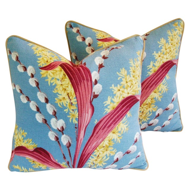 Vintage Tropical Floral Barkcloth Pillows - a Pair - Image 1 of 11
