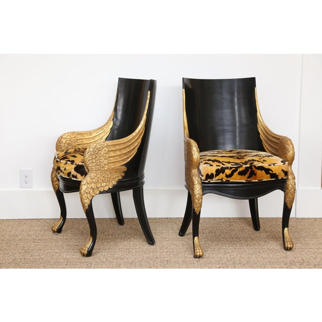French Empire Armchairs Upholstered in Clarence House Tiger Velvet - a Pair For Sale - Image 11 of 11