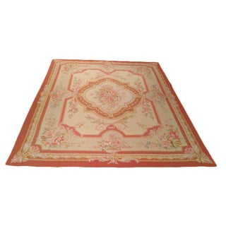 Aubusson Weave Handmade Rug Soft Rose Pink Gold Beige - 7′6″ X 9′9″ - Size Cat. 7x10 8x10 For Sale