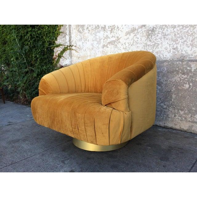 Hollywood Regency Gold Velvet W Chair - Image 3 of 6