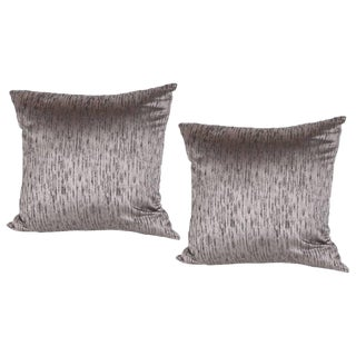 Modernist Pillows in Iridescent Lavender With Organic Black Pattern- a Pair For Sale