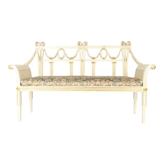 Vintage French Neoclassical Style Wood Settee / Bench For Sale