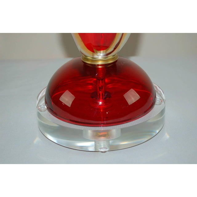 Vintage Murano Glass Table Lamps Sommerso Red For Sale - Image 9 of 10