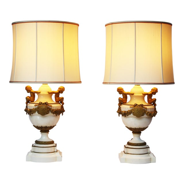 Pair of Louis XVI Style Marble and Gilt Bronze Lamps For Sale