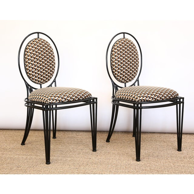 Pair of Upholstered Oval Back Chairs. Circa 1950s.