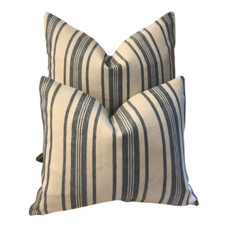 Blue and White Striped Linen Pillows - A Pair