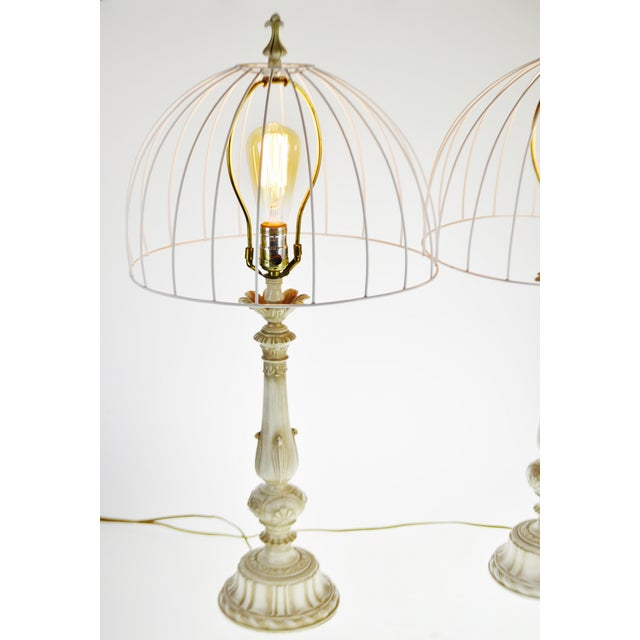 French Provincial Vintage Metal Candlestick Table Lamps With Metal Cage lamp shades - a Pair For Sale - Image 3 of 12