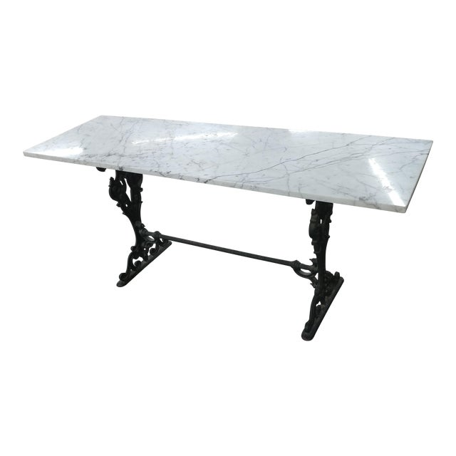 19th Century French Iron & Marble Top Pastry Table For Sale