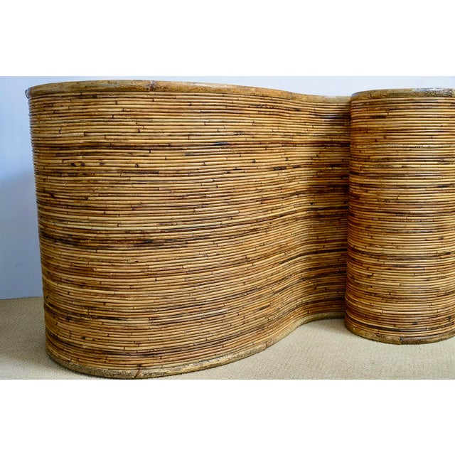 "Tan Italian Gabriella Crespi Style, Pencil Bamboo ""S"" Shape Console Table,, C.1970 For Sale - Image 8 of 13"