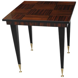 "French Art Deco Exotic Macassar Ebony ""Square"" Game Table, circa 1940s"