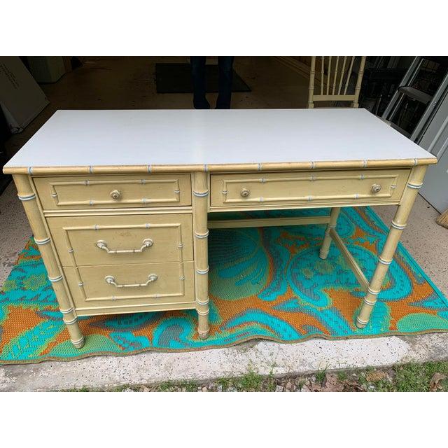 1960s Vintage Regency Thomasville Faux Bamboo Desk Set- 2 Pieces For Sale - Image 9 of 12