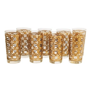 Mid Century Good Circle Highball Cocktail Glasses Set of 8 For Sale