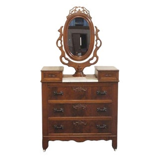 20th Century Victorian Walnut Dresser W/ Marble Top and Ornate Wishbone Mirror For Sale