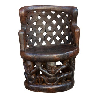 Nigerian Yoruba Carved Figural Chair For Sale