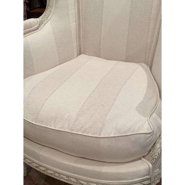 19th Century Louis XVI Carved Painted Bergere Armchair For Sale In Dallas - Image 6 of 13
