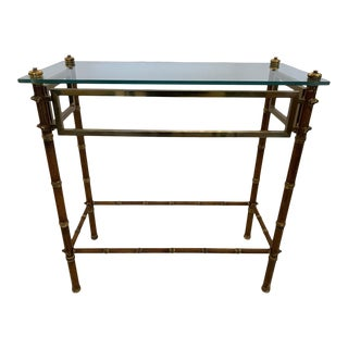 English Brass & Glass Faux Bamboo Style Console Table For Sale