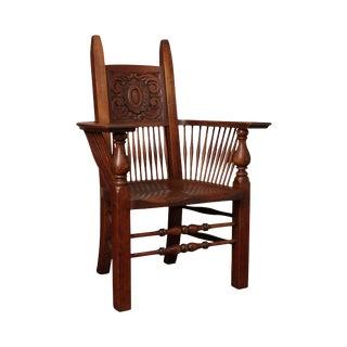 Antique Arts & Crafts Oak Spindle Armchair For Sale