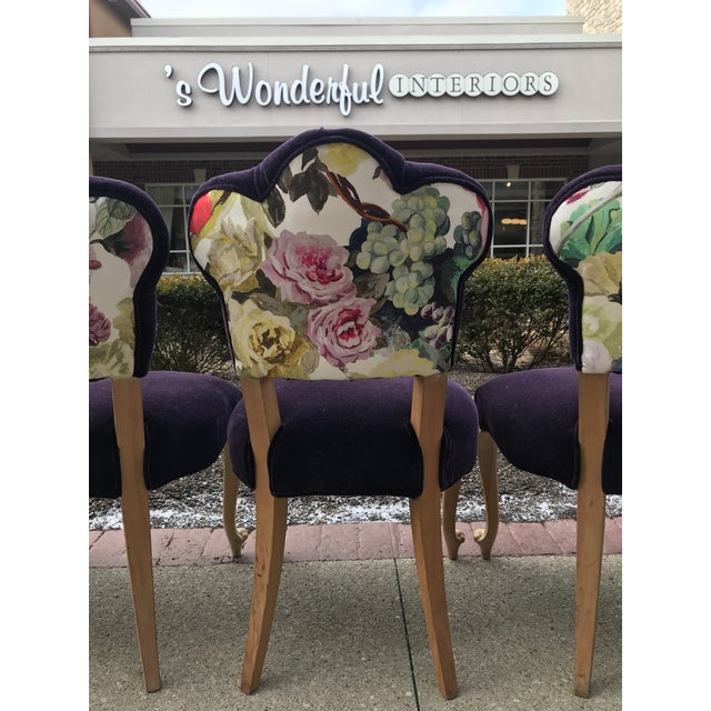 Eggplant 19th Century Antique Bohemian Tufted Rococo Dining Side Chairs Cabriole Legs - Set of 6 Mohair With Designers Guild Floral Print For Sale - Image 8 of 13