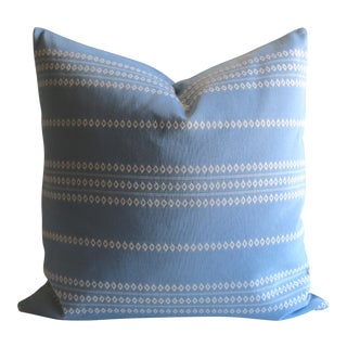 Embroidered Blue Stripe Pillow