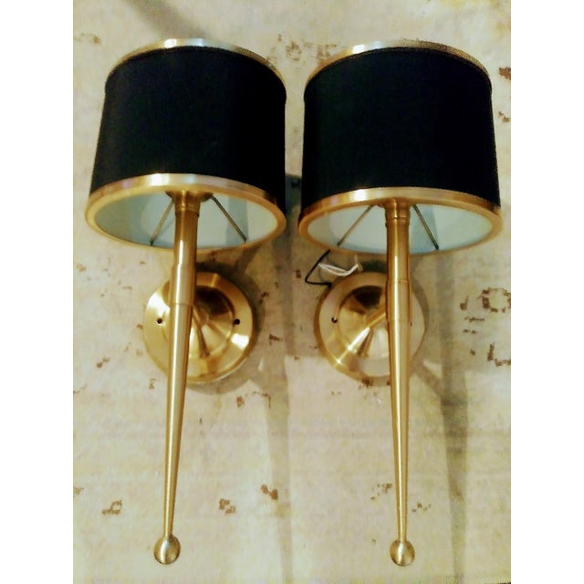 Black and Gold Streamlined Wall Sconce Lights - a Pair For Sale In West Palm - Image 6 of 7