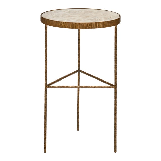 Sophia End Table, White, Antique Brass For Sale