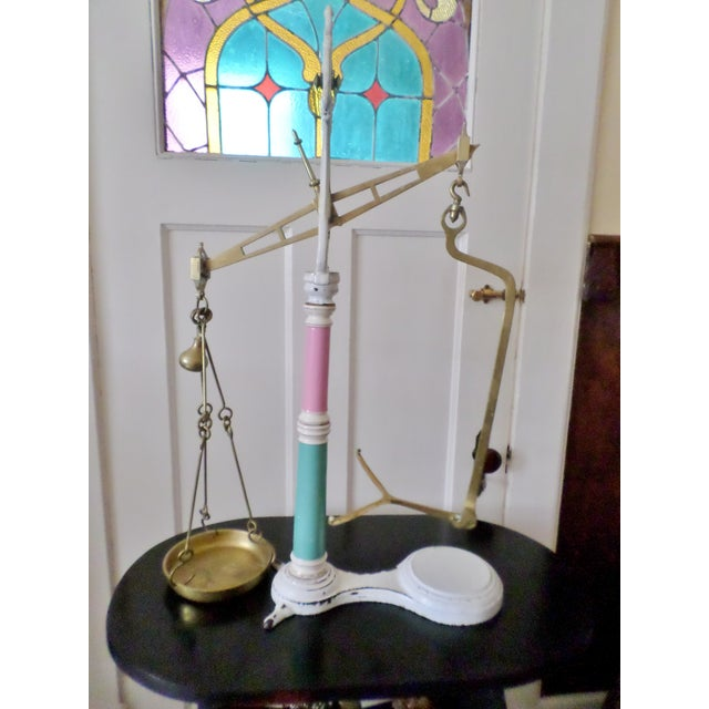 Late 19th Century English Mercantile Apothecary/Candy Brass & Porcelain Scales For Sale - Image 9 of 13