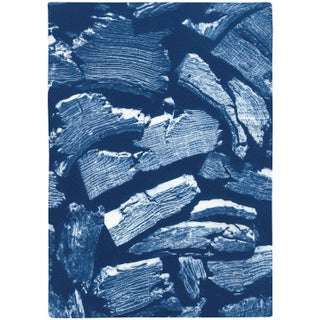 """2021 """"Knife Wood Texture"""" Contemporary Cyanotype Print on Watercolor Paper by Kind of Cyan For Sale"""