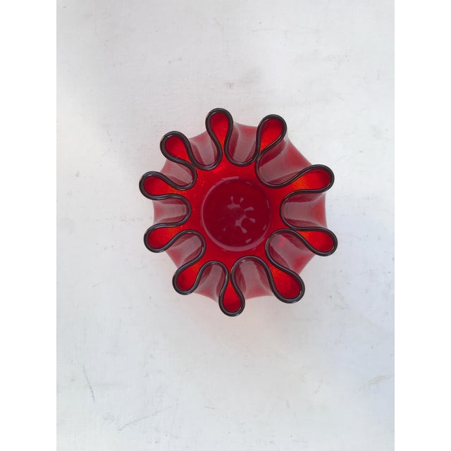 Mid Century Red Crackle Glass And Scalloped Vase Chairish