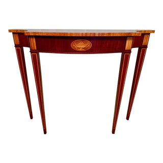 1990s Councill Hepplewhite Mahogany Console Table For Sale