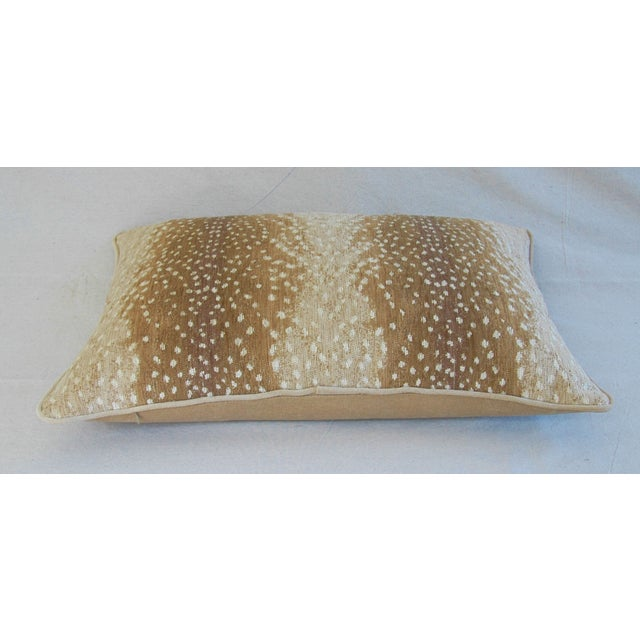 """Large Custom Fawn Speckled Spot Velvet Feather/Down Lumbar Pillow 26"""" X 18"""" For Sale In Los Angeles - Image 6 of 8"""