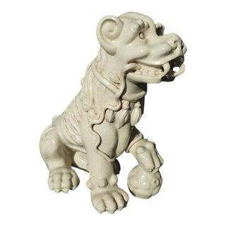 1970's Vintage Spanish White Glazed Terra Cotta Dog Figure For Sale