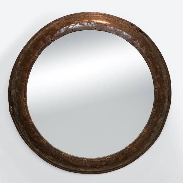 Industrial Industrial Architectural Element Round Metal Mirror, English, Circa 1900 For Sale - Image 3 of 8