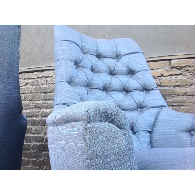 Mid-Century Tufted Blue Lounge Chairs - A Pair - Image 7 of 7