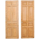 Image of Pair of Single French Eight-Panel Wood Doors With Natural Wood Finish For Sale