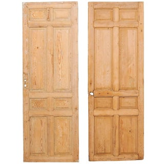Pair of Single French Eight-Panel Wood Doors With Natural Wood Finish For Sale