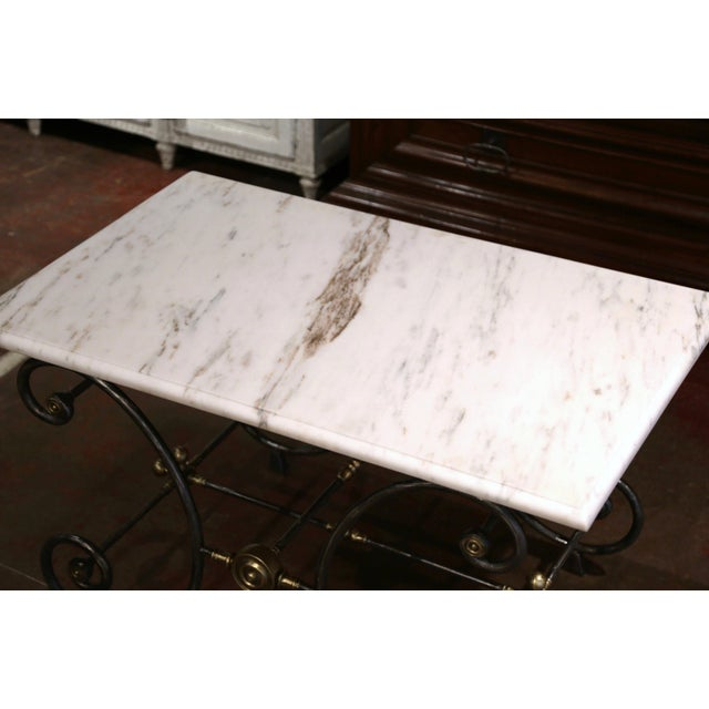 19th Century French Polished Iron and Bronze Pastry Table With Marble Top For Sale - Image 4 of 13