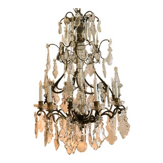 Finest Antique French Old Baccarat Crystal and Bronze Chandelier, Circa 1880's. For Sale