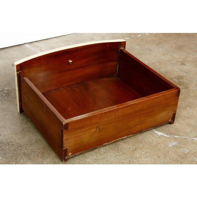 Raffia Grasscloth Clad Oval Three-Drawer Dresser Nightstand - Image 9 of 11
