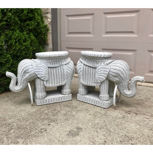 1960s Vintage 1960's White Wicker Elephant Plant Stands / Side Tables - a Pair For Sale - Image 5 of 7