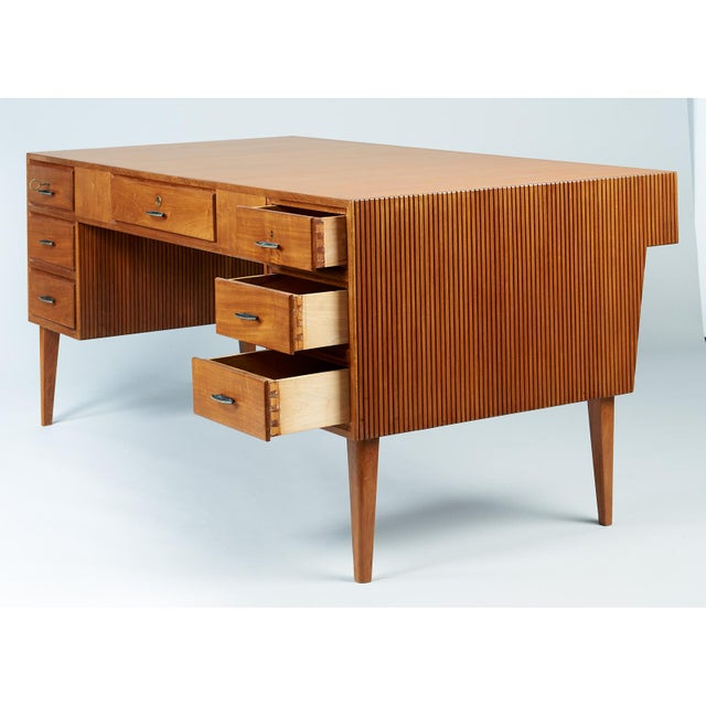 Brown 1950s Mid-Century Modern Gio Ponti Monumental Desk and Chair Set - 2 Pieces For Sale - Image 8 of 11