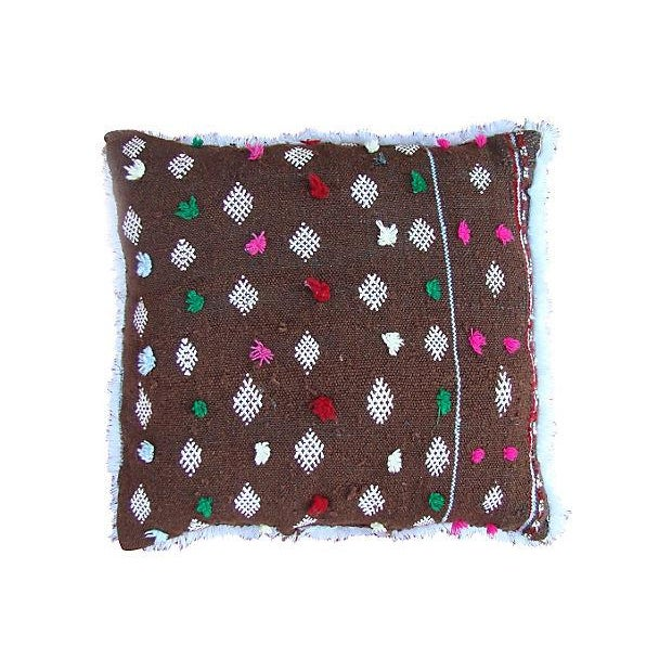 Handwoven pillow sham with an elaborate diamond and X pattern, from the Zemmour tribe in the Middle Atlas mountains of...