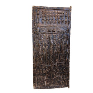"Stunning Lg Dogon Door W/ Figures/ Crocodiles Mali 68"" H For Sale"