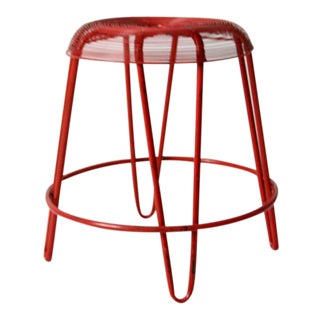 Mid-Century Red Hairpin Leg Metal Stool For Sale