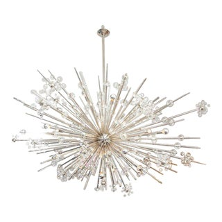 Monumental Austrian Crystal and Glass Rod Sputnik in Polished Nickel For Sale