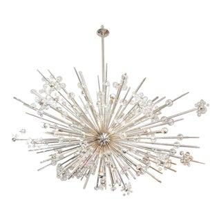 Monumental Austrian Crystal and Glass Rod Sputnik in Polished Nickel For Sale