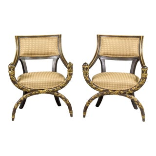 Pair Venetian 19th Century Hand Painted and Carved Savonarola Armchairs For Sale