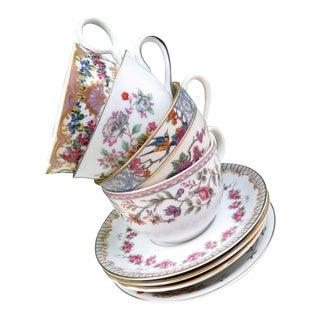 Vintage Mismatched China Tea Cups & Saucers - Set of 4